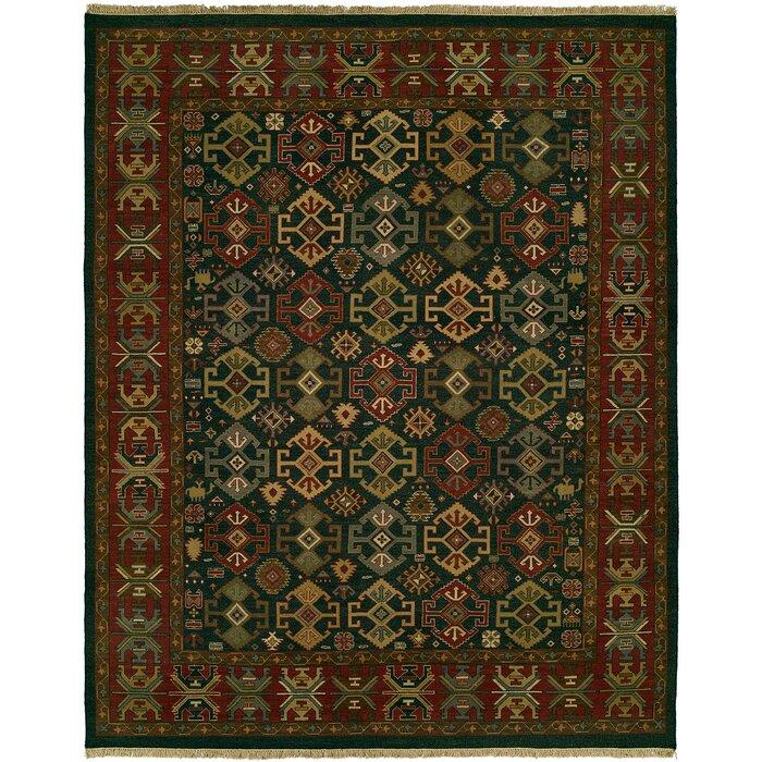 Lisbeth Flat Woven Wool Green Red Area Rug