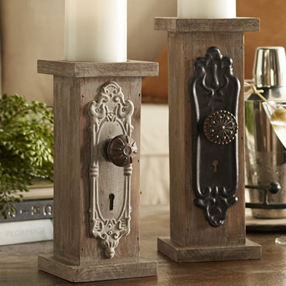 Ophelia Co 2 Piece Door Knob Wood And Metal Candlestick Set Reviews Wayfair