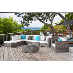 DeSoto 8 Piece Rattan Sectional Seating Group with Cushions
