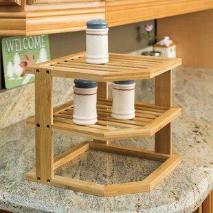 Home Basics 3-Tier Bamboo Multi-Purpose Corner Unit Bookcase