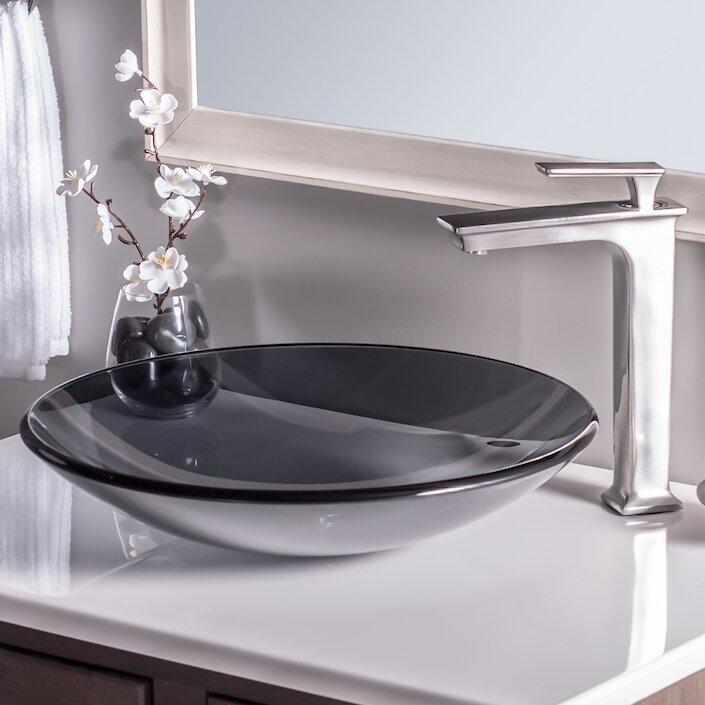 Low Profile Undermount Bathroom Sink novatto low profile glass circular vessel bathroom sink & reviews