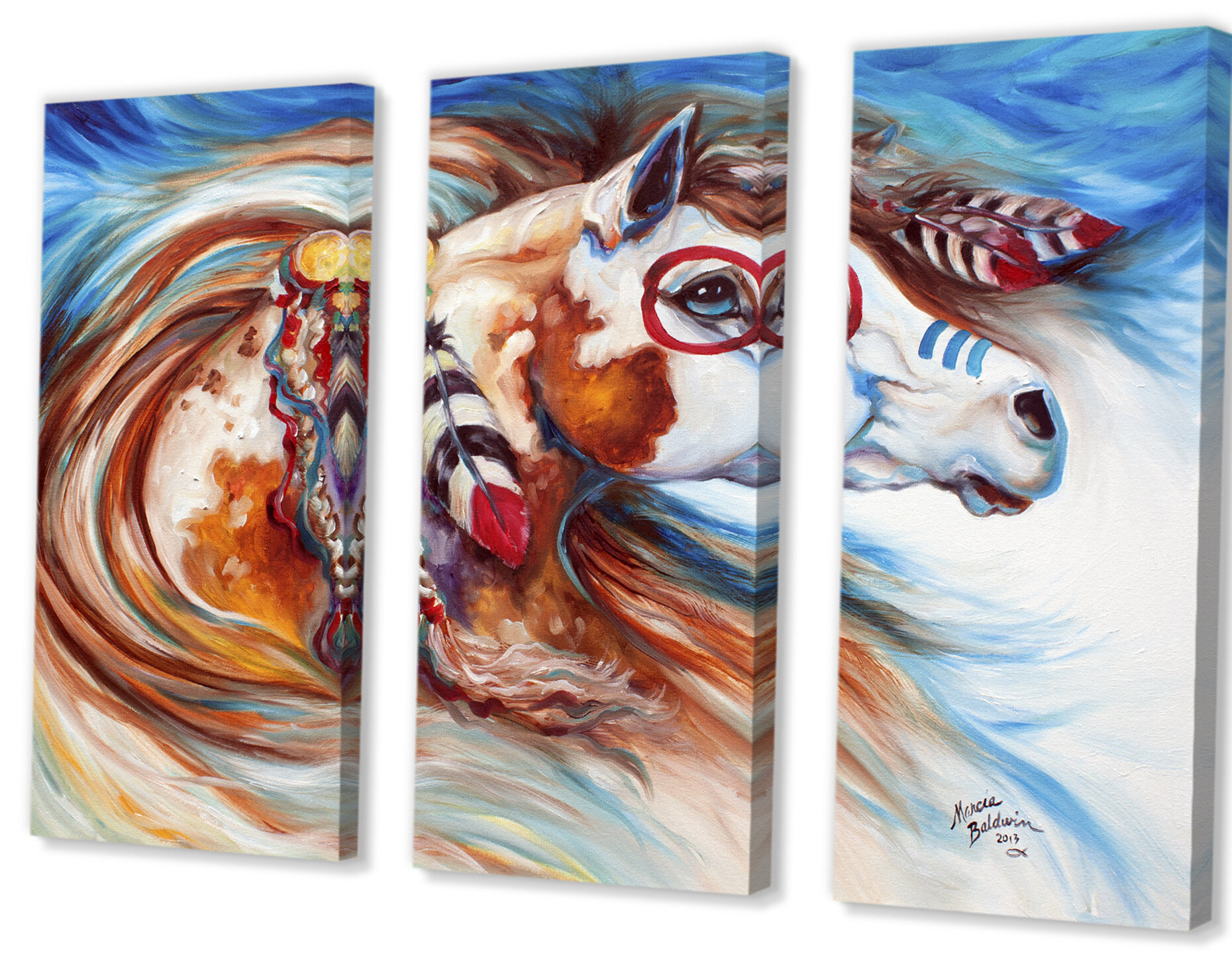 East Urban Home Wind Of Thunder Indian War Horse Painting Multi Piece Image On Canvas