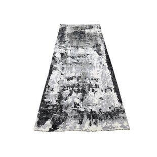 Compare prices One-of-a-Kind Riegel Hi-Low Pile Hand-Knotted 2'6 x 8' Wool/Silk Ivory/Black Area Rug By Isabelline