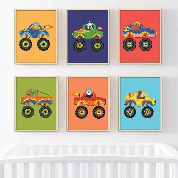 Zoomie Kids Winland Bright Colorful Monster Trucks With Animals 6 Piece Set Paper Print Wayfair