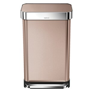 simplehuman 11.9 Gallon Rectangular Step Trash Can with Liner Pocket, Rose Gold Steel