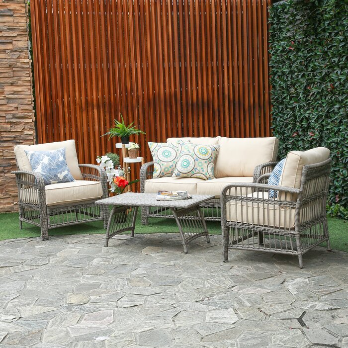 Outstanding Rona 4 Piece Rattan Sofa Seating Group With Cushions Evergreenethics Interior Chair Design Evergreenethicsorg