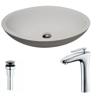 ANZZI Maine Stone Circular Vessel Bathroom Sink with Faucet