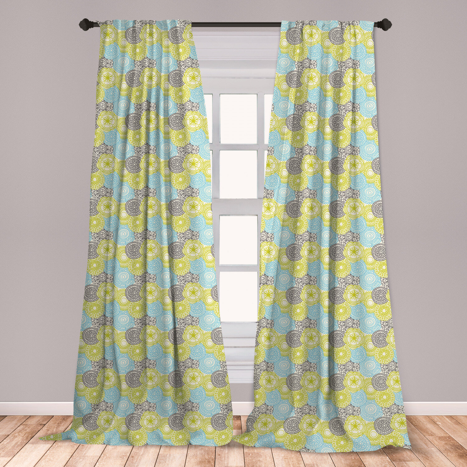 East Urban Home Floral Pastel Colored Flowers With Folk Style Effects Design Nature Print Room Darkening Rod Pocket Curtain Panels Set Of 2 Floral Room Darkening Rod Pocket Curtain Panels Wayfair