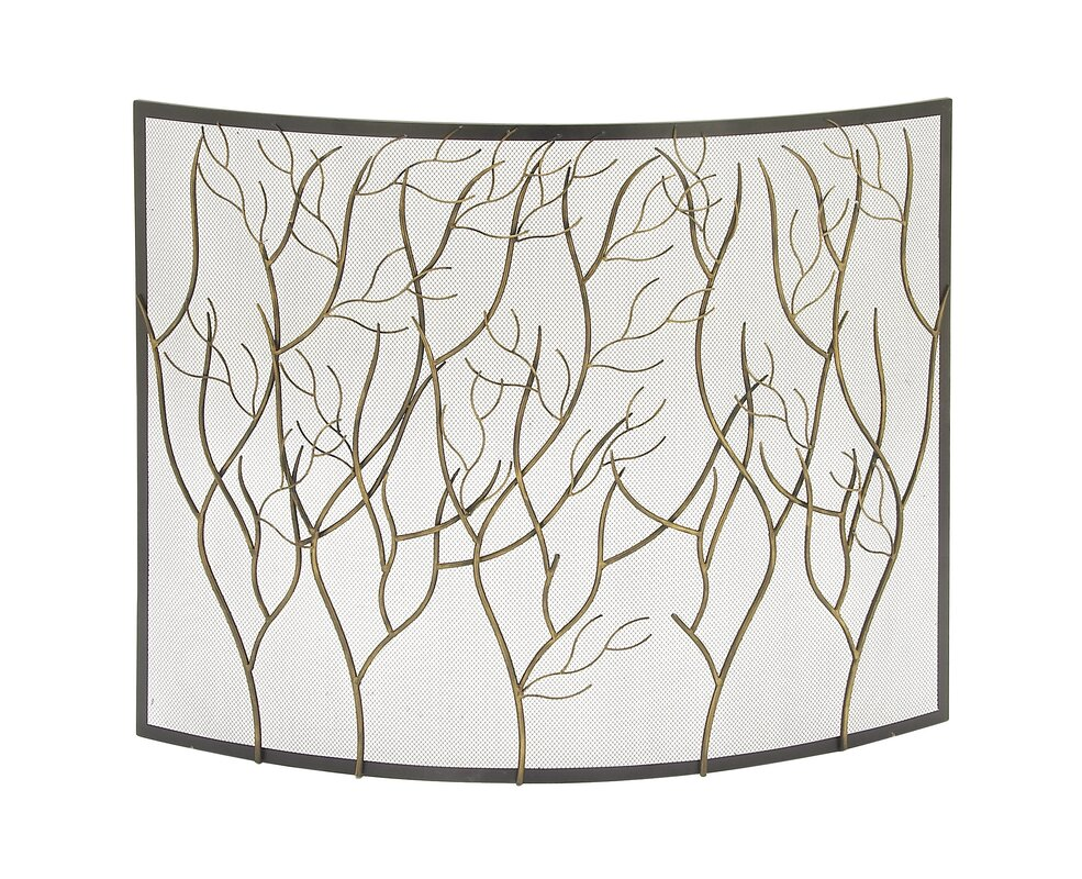 Single Panel Iron/Brass Fireplace Screen