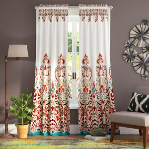 Pierre Paisley Room Darkening Thermal Rod Pocket Curtain Panels (Set of 2)