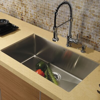 30 Inch Undermount Single Bowl 16 Gauge Stainless Steel Kitchen Sink With Edison Chrome Faucet Grid Strainer And Soap Dispenser