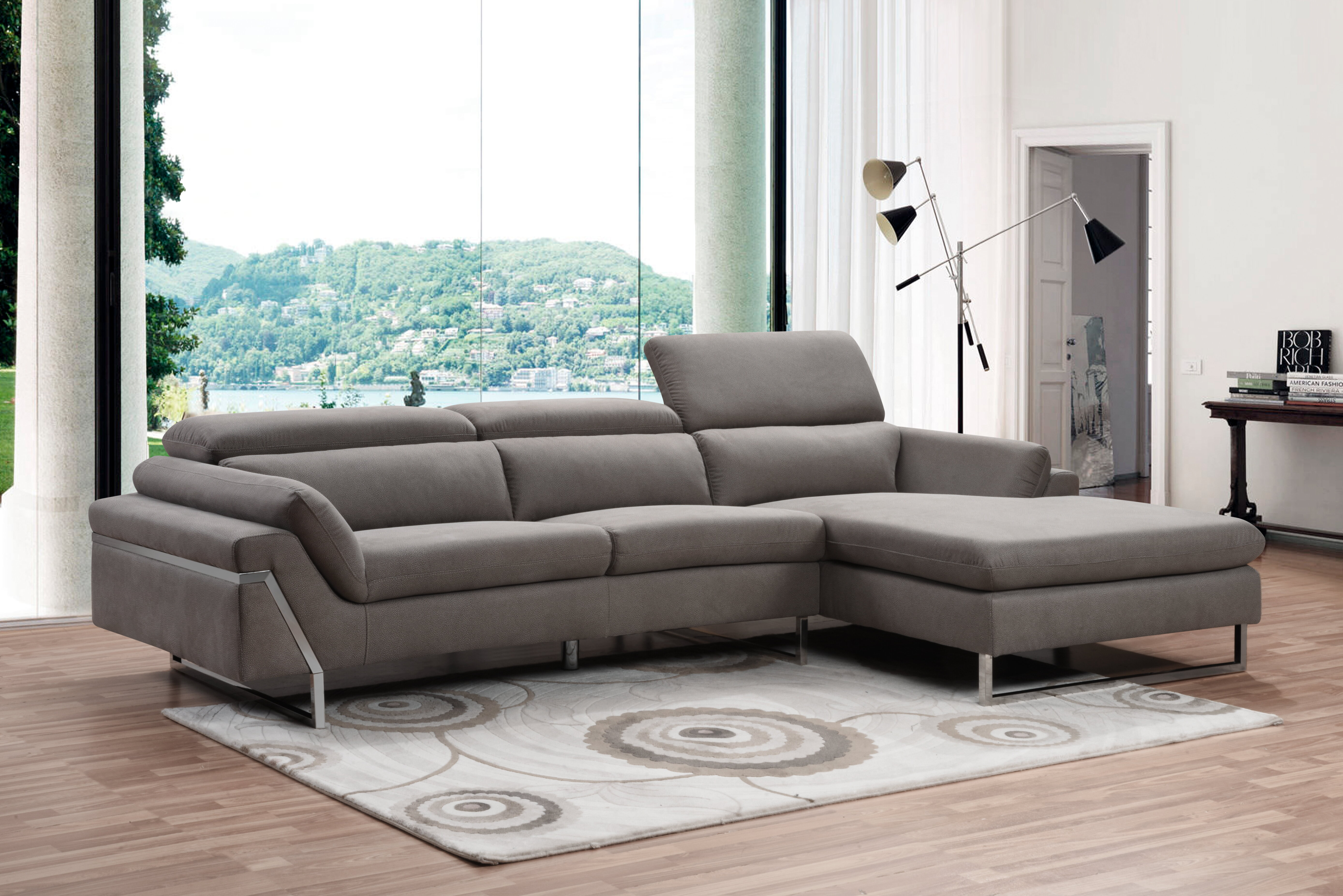Orren Ellis Light Grey Air Leather Sectional Sofa With Adjustable Headrest Wayfair Ca