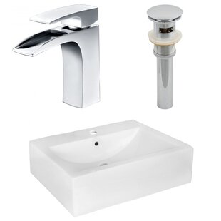 Reviews Ceramic 16 Wall Mount Bathroom Sink with Faucet and Overflow By American Imaginations