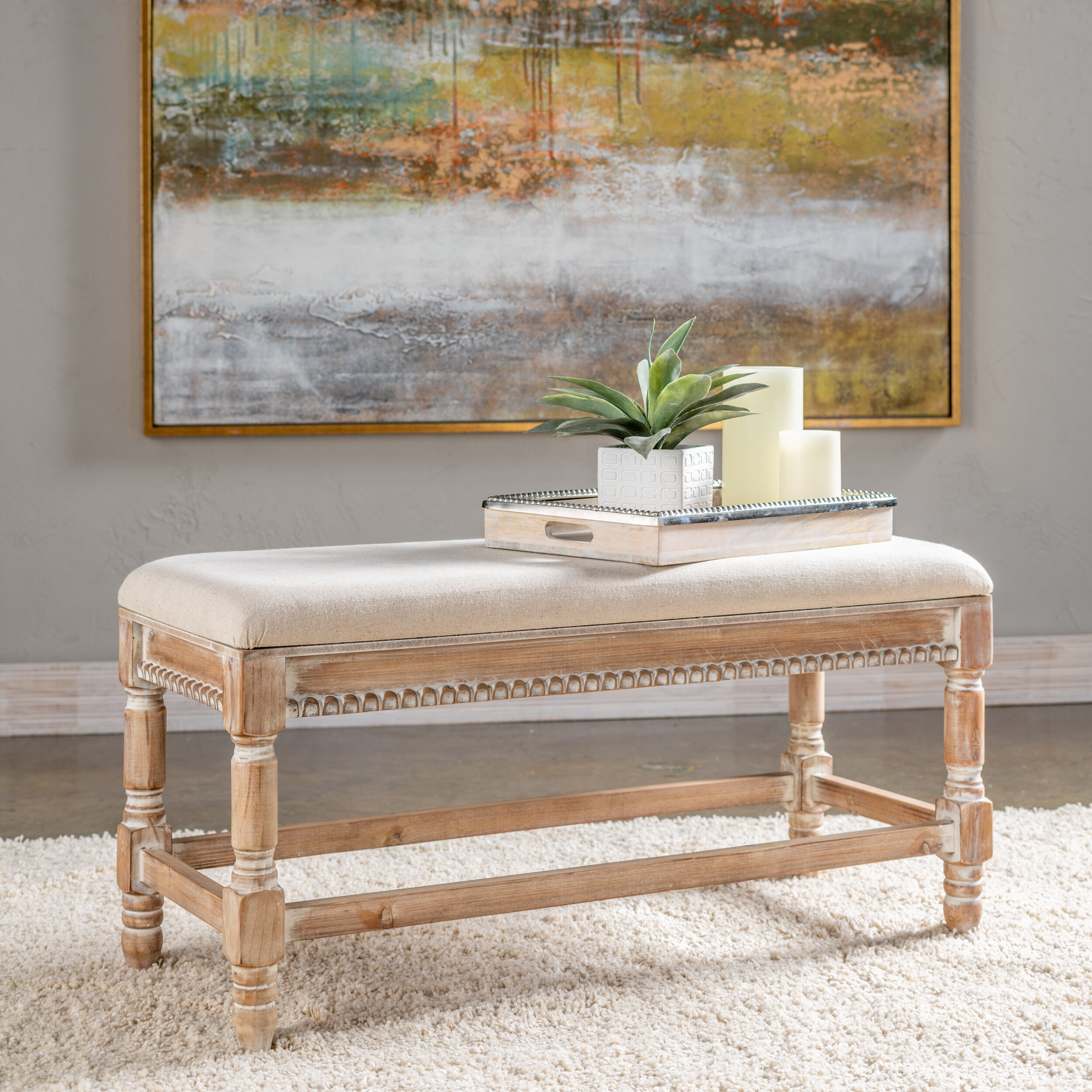 One Allium Way Moultrie Upholstered Bench Reviews Wayfair