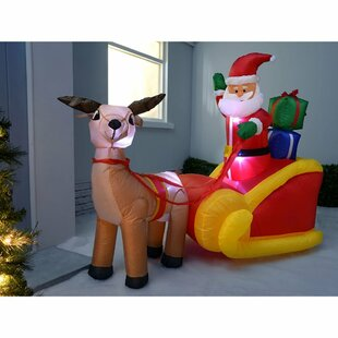 Pre-Lit Santa Reindeer Sleigh Inflatable With LED Light And Fan By The Seasonal Aisle