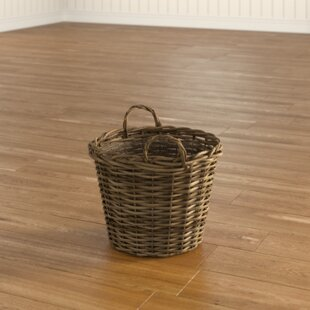 Round Wild Willow Lined Log Basket By Castleton Home
