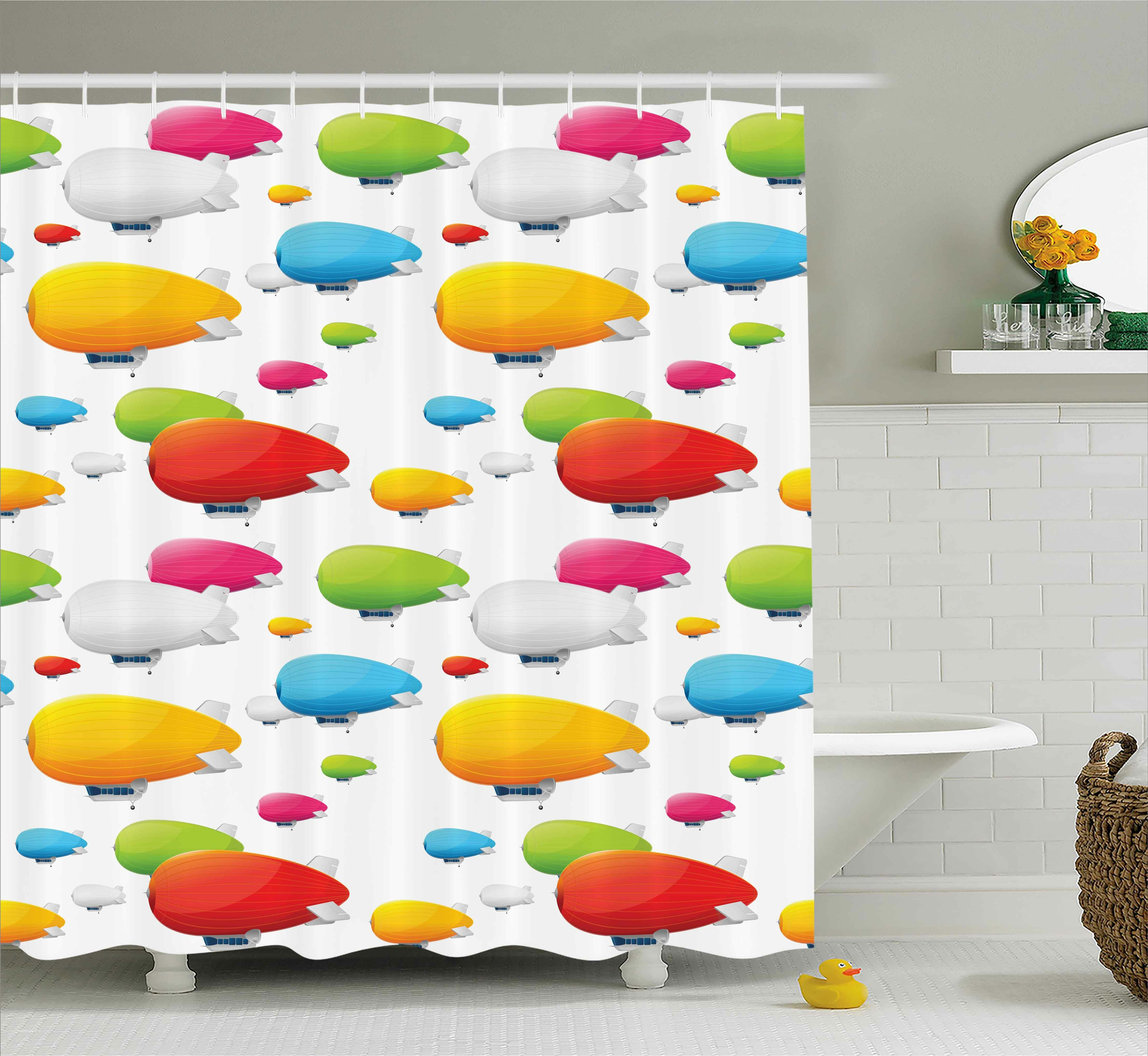 Zoomie Kids Marguerite Colored Aviation Plane Shower Curtain