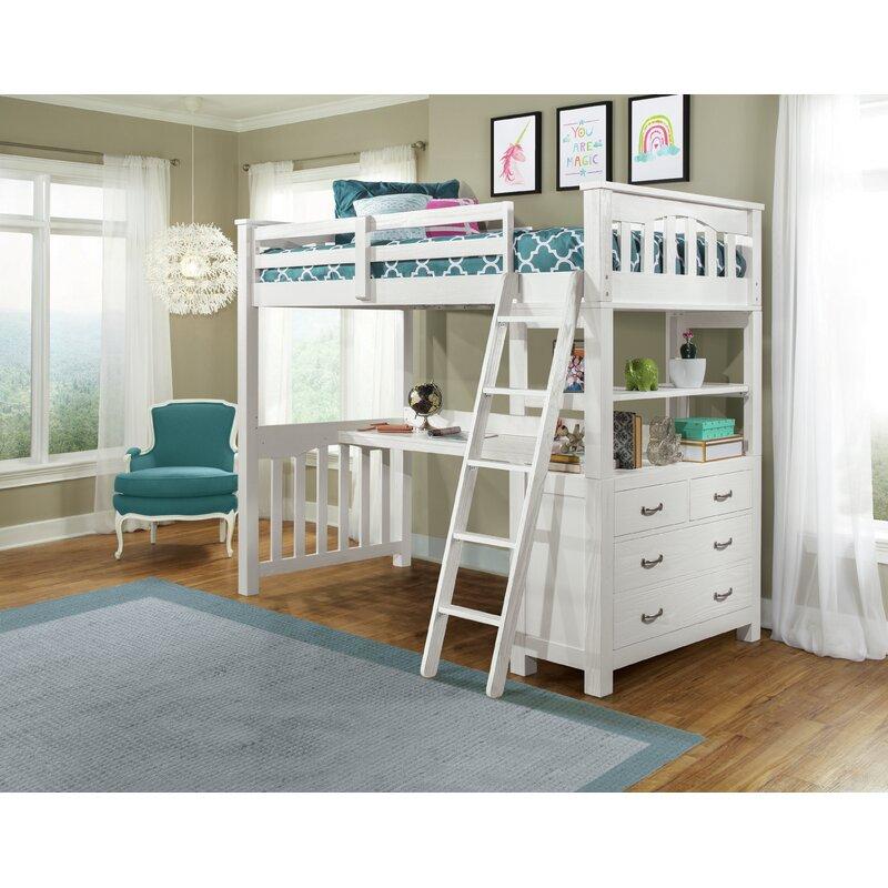 Greyleigh Bedlington Loft Bed With Shelves Reviews Wayfair