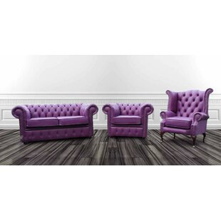Chesterfield 3 Piece Leather Sofa Set By Willa Arlo Interiors