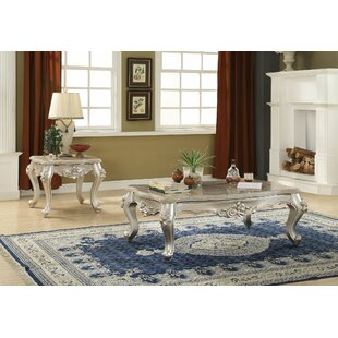 Astoria Grand Townley Scalloped Living Room 2 Piece Coffee Table Set