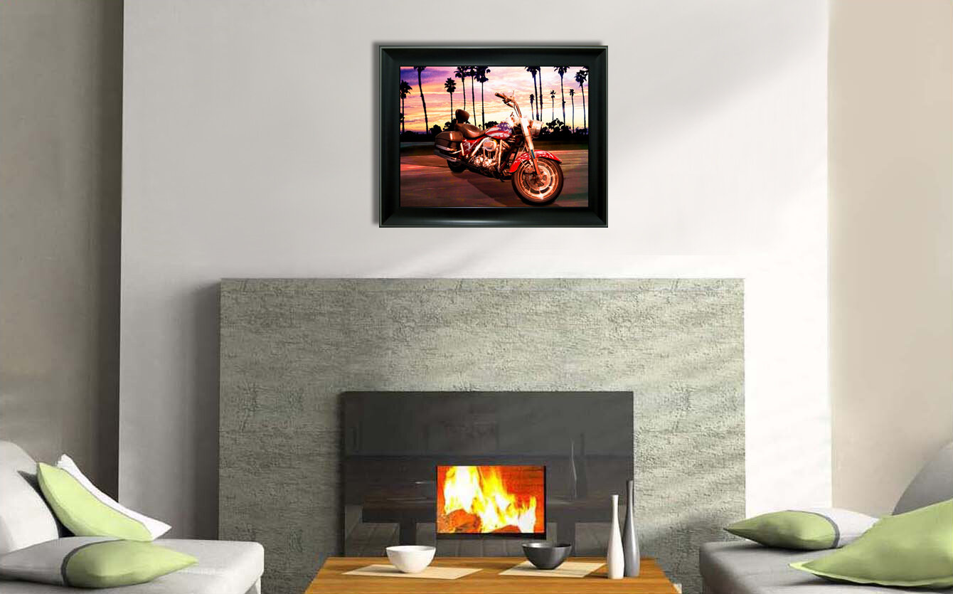 East Urban Home \'Harley Davidson Motorcycle Route 66\' Framed Graphic ...