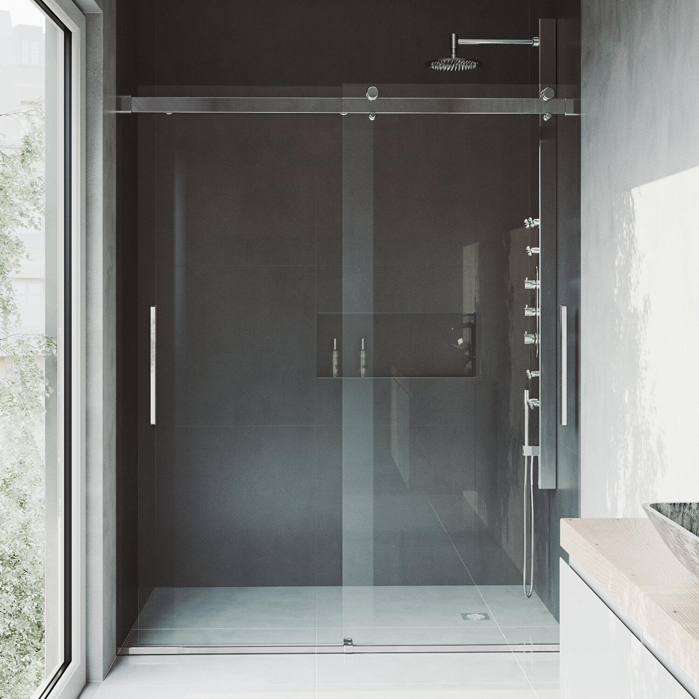 Vigo Caspian 59 W X 73 5 H Double Sliding Frameless Shower Door Reviews Wayfair
