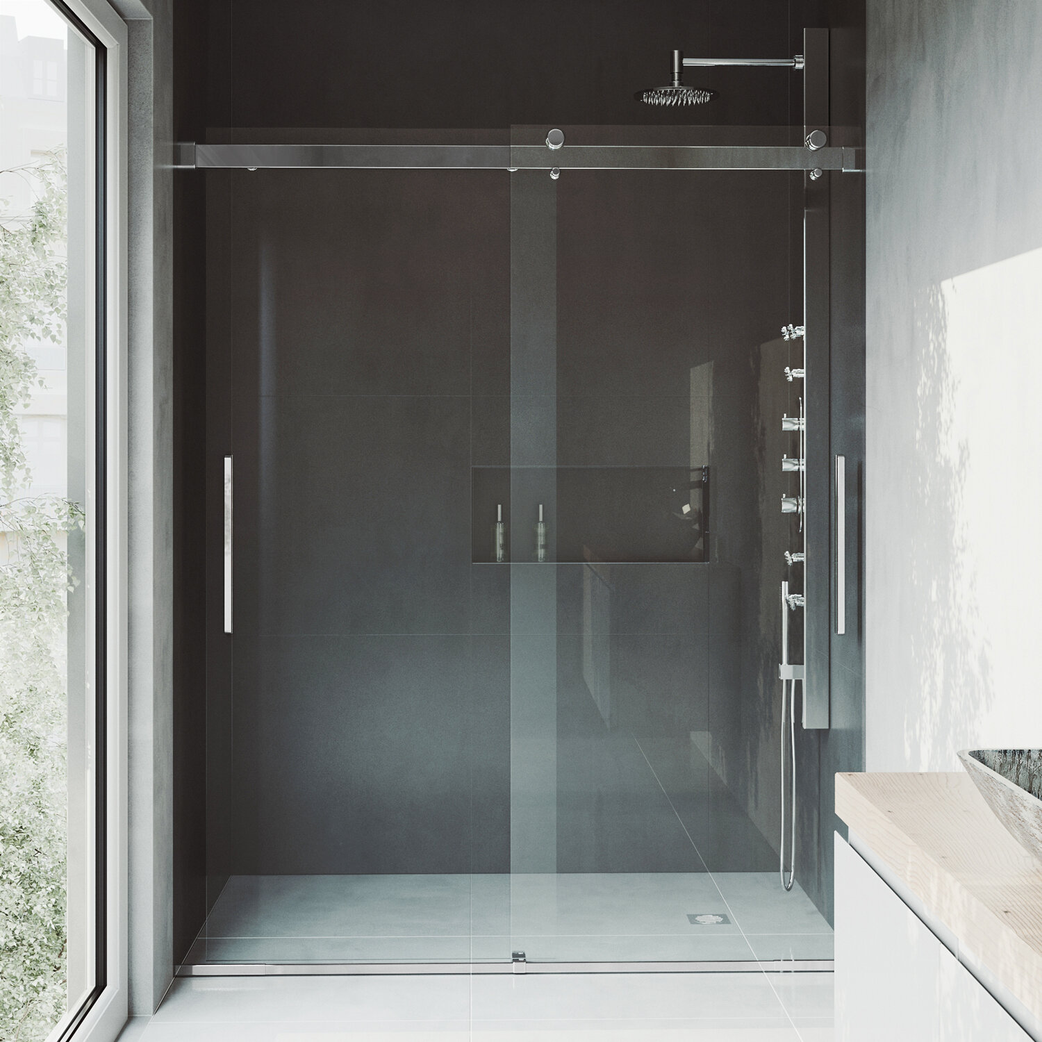 Caspian 61 X 73 5 Double Sliding Frameless Shower Door