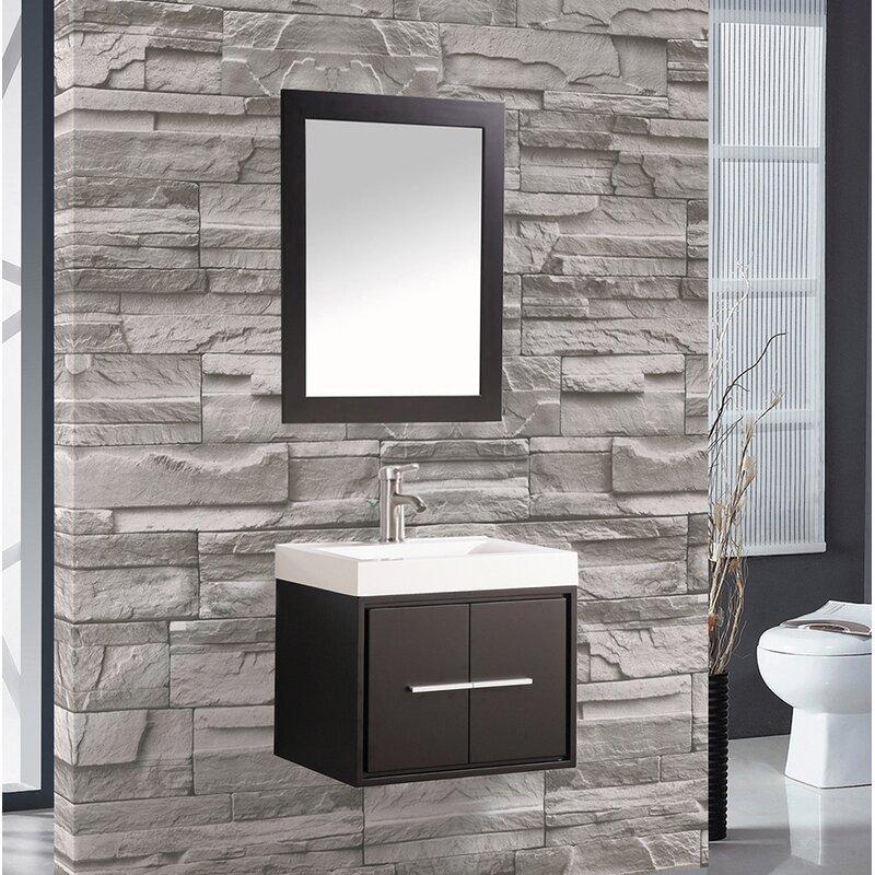 Peirce 24 Single Floating Bathroom Vanity Set With Mirror