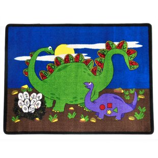 Look for Dino Land Blue/Green/Black Area Rug By Kids World Carpets