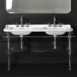 Comparison Waldorf Ceramic 60 Console Bathroom Sink with Overflow By WS Bath Collections