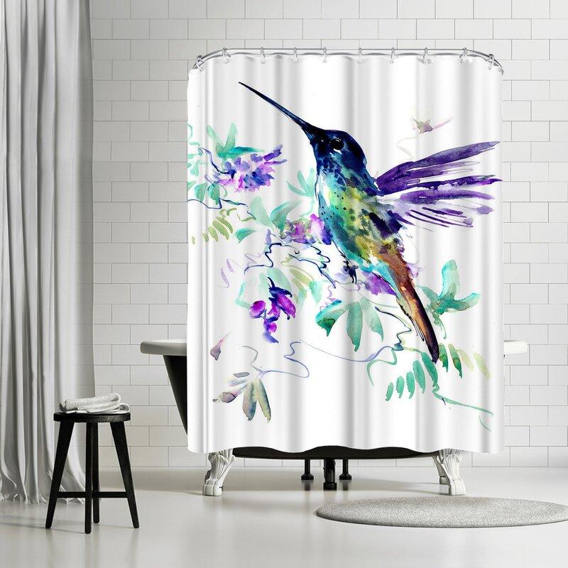 East Urban Home Suren Nersisyan Hummingbird And Purple Flowers Single Shower Curtain Wayfair