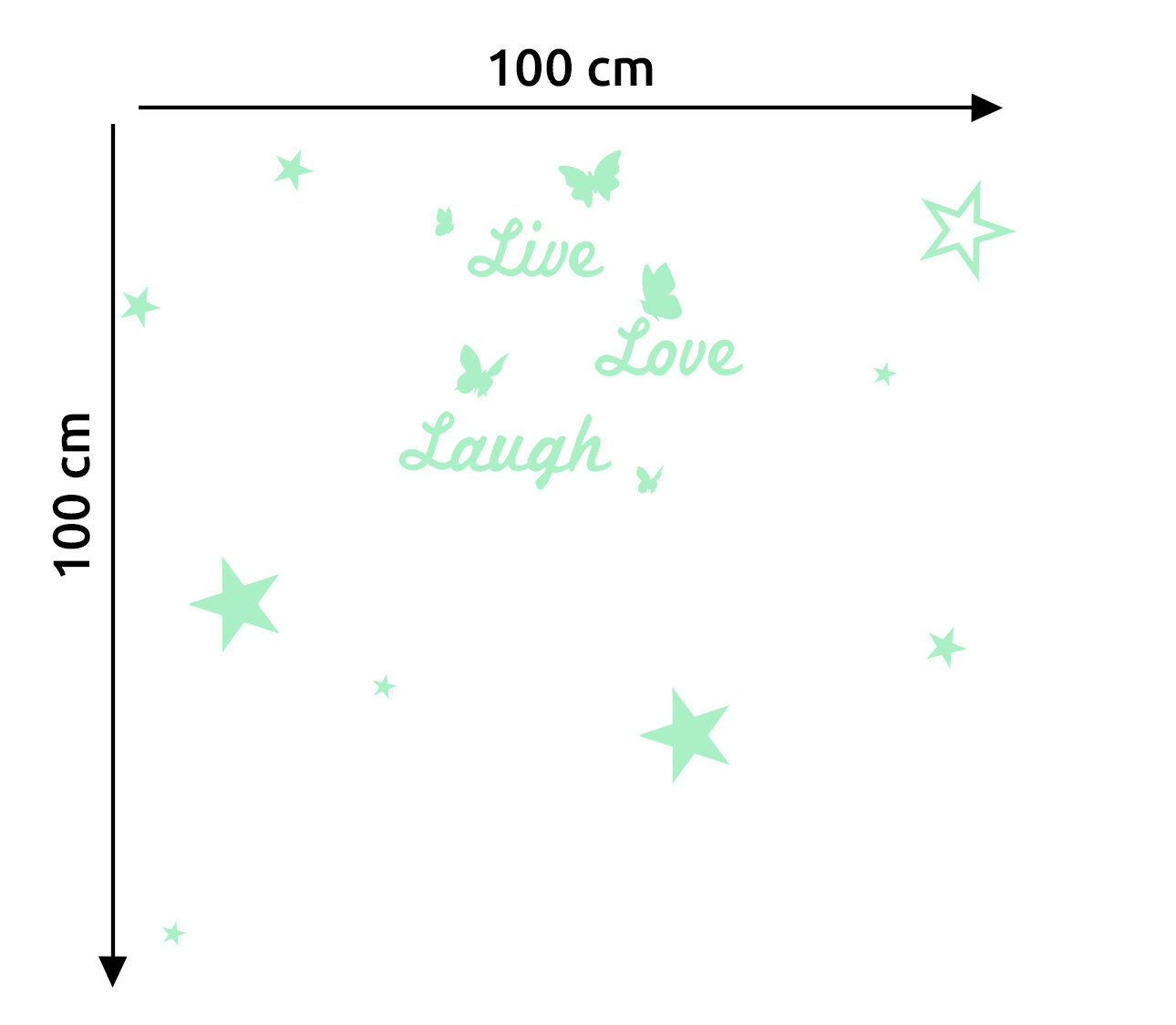Coleman Live Love Laugh and Stars Glowing Wall Decal
