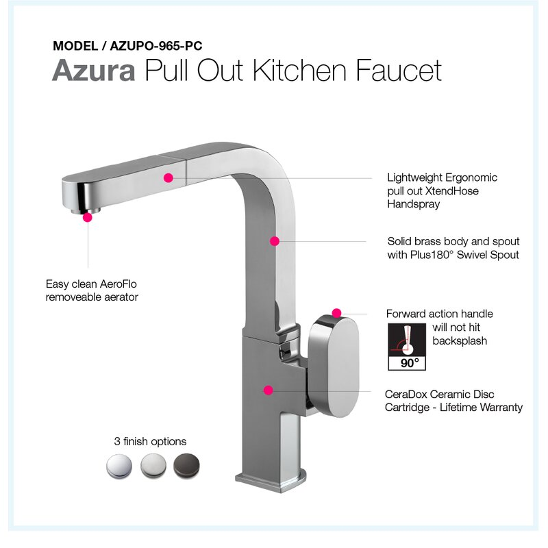 f772252f49dd Houzer Azura Pull Out Single Handle Kitchen Faucet
