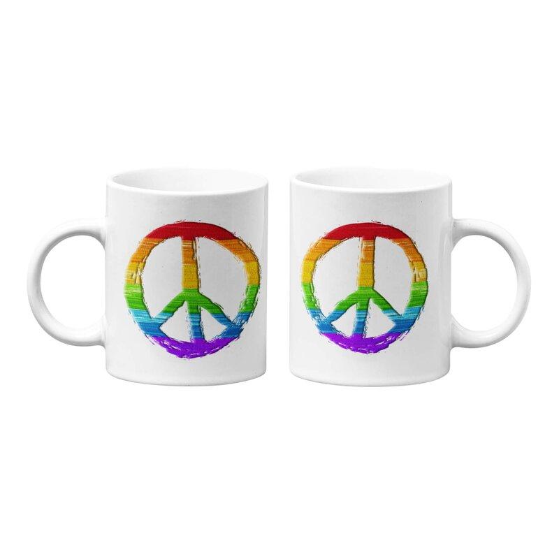 Ebern Designs Alaster Diversity Peace Sign Coffee Mug Wayfair