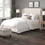 Elsa Tufted Solid Wood and Upholstered Low Profile Standard Bed by Wayfair Custom Upholstery™