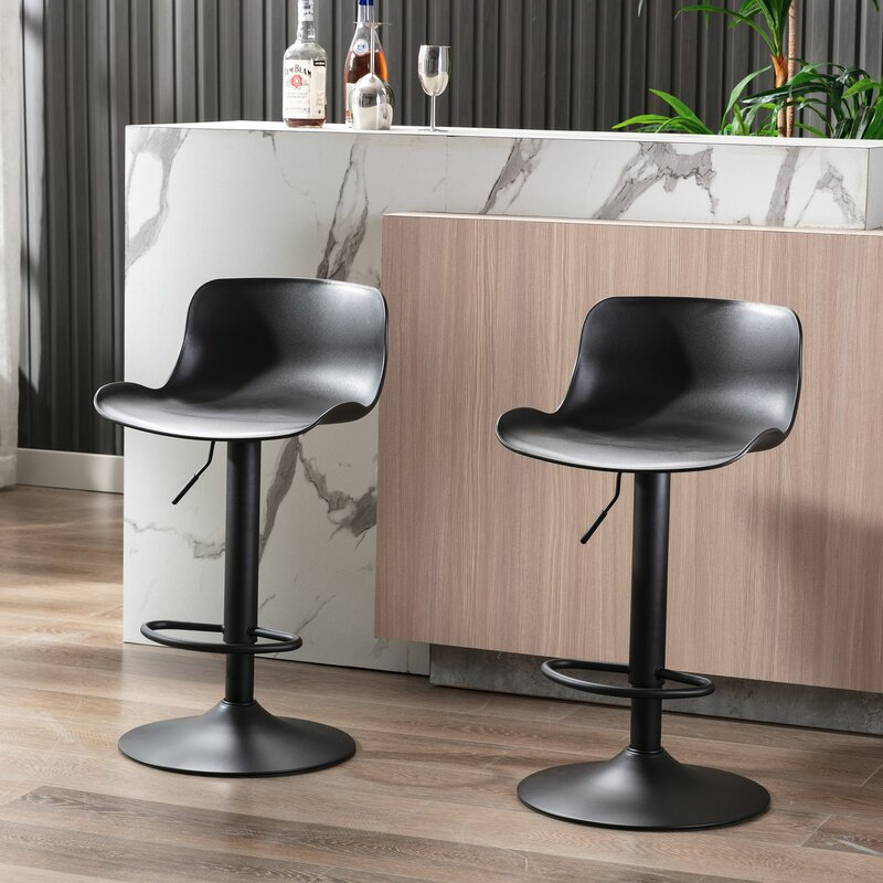 17 Stories Monmouth Swivel Adjustable Height Bar Stool (Set of 2)