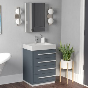 Copher 23 Single Bathroom Vanity Set with White Top and Mirror