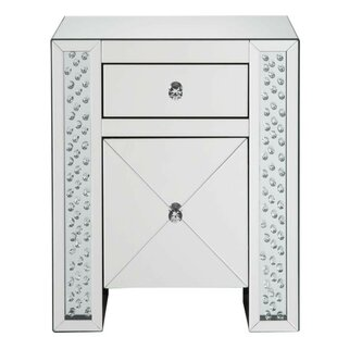 Lakendra Wood and Mirror 2 Drawer Nightstand