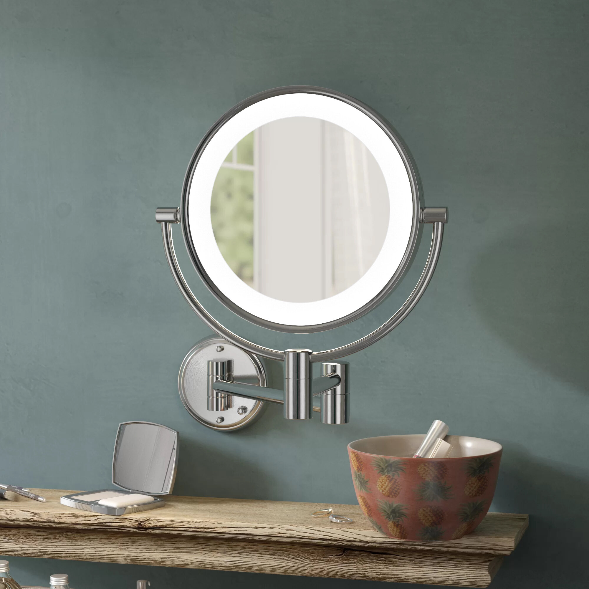 Darby Home Co Adonis Dual Sided American Traditional Lighted Makeup Mirror Reviews Wayfair