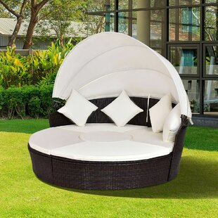 Sharleen Outdoor Patio Furniture Round Retractable Canopy Daybed with Mattress by World Menagerie