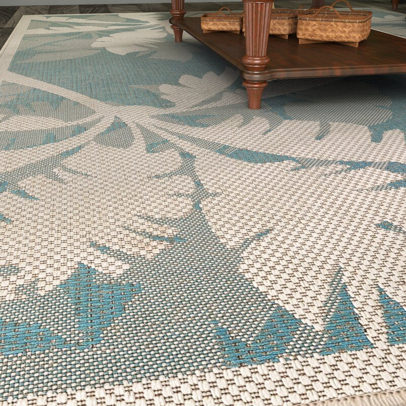 Odilia Coastal Flora Ivory/Turquoise Indoor/Outdoor Area Rug ...