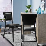 Alais Upholstered Folding Side Chair in Black (Set of 2) by Red Barrel Studio®