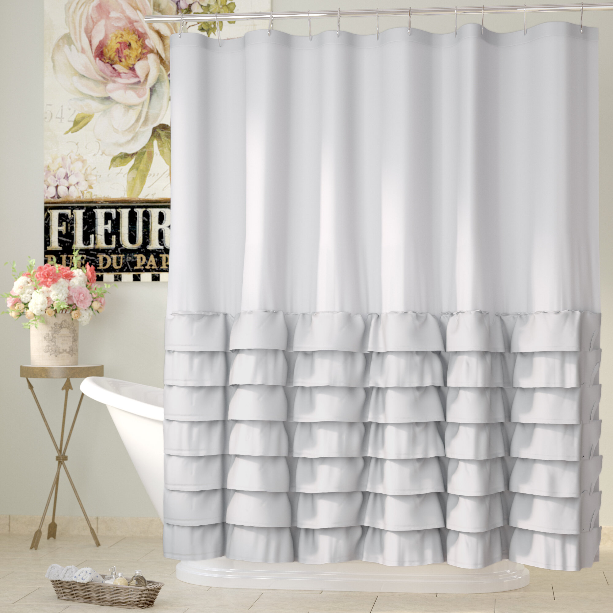 Polyester Butterfly Shower Curtain Bath Curtains Set Curtain Hanging Panel#1