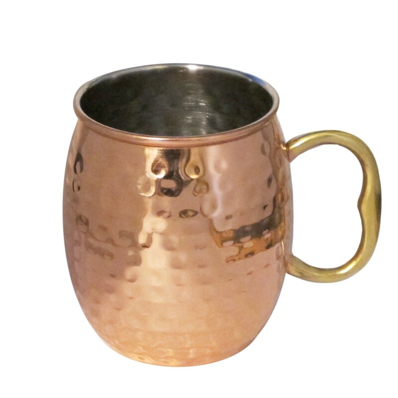 Moscow Mule Polished Copper 20 Ounce Drinking Mug Set of 2