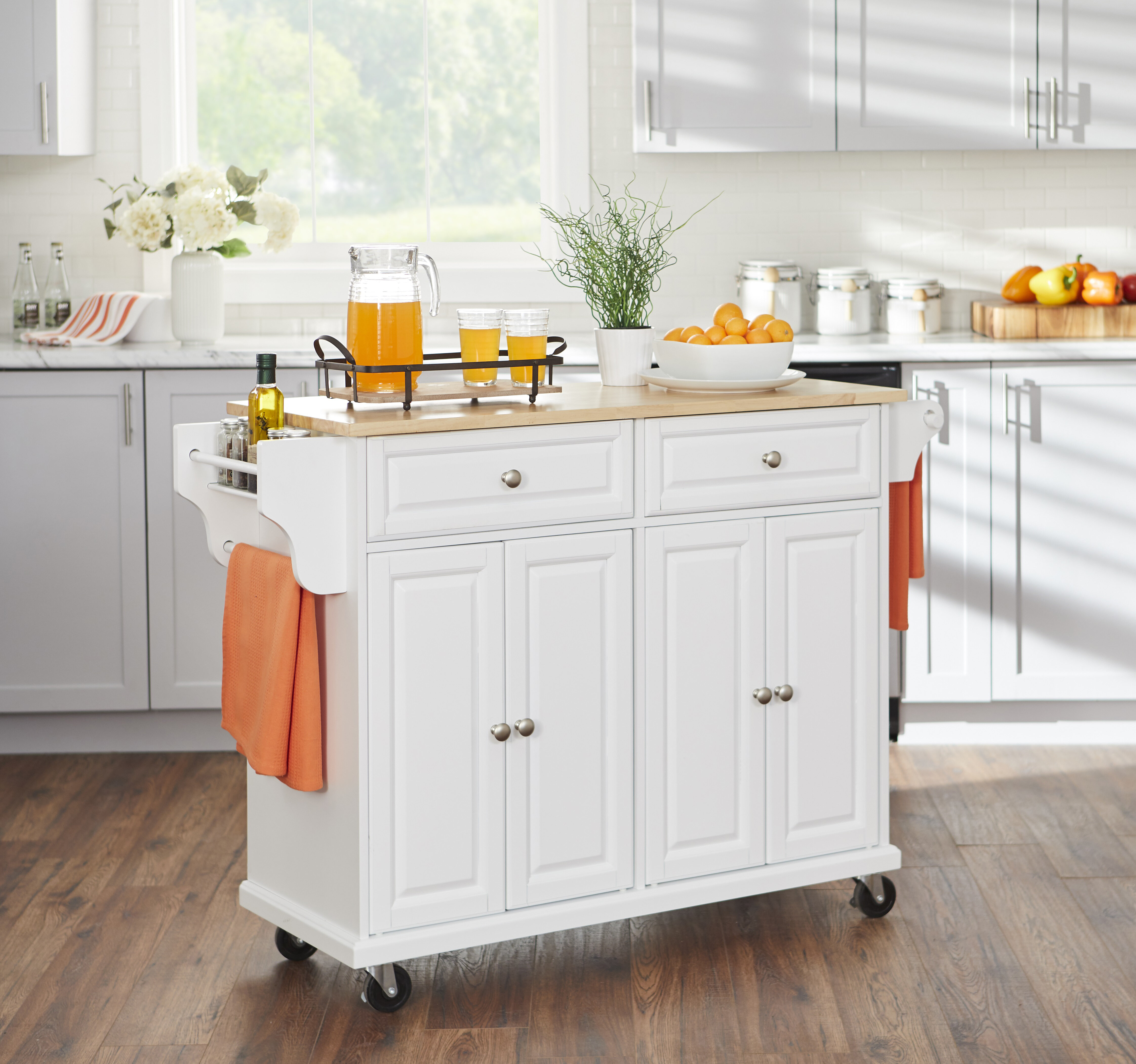 Winston Porter Capo Kitchen Cart With Rubberwood Top Reviews Wayfair