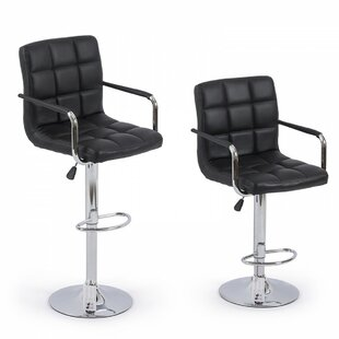 Modern Adjustable Height Swivel Bar Stool (Set of 2) by Belleze