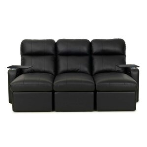Leather Home Theater Sofa with Track Arm (Row of 3) by Red Barrel Studio