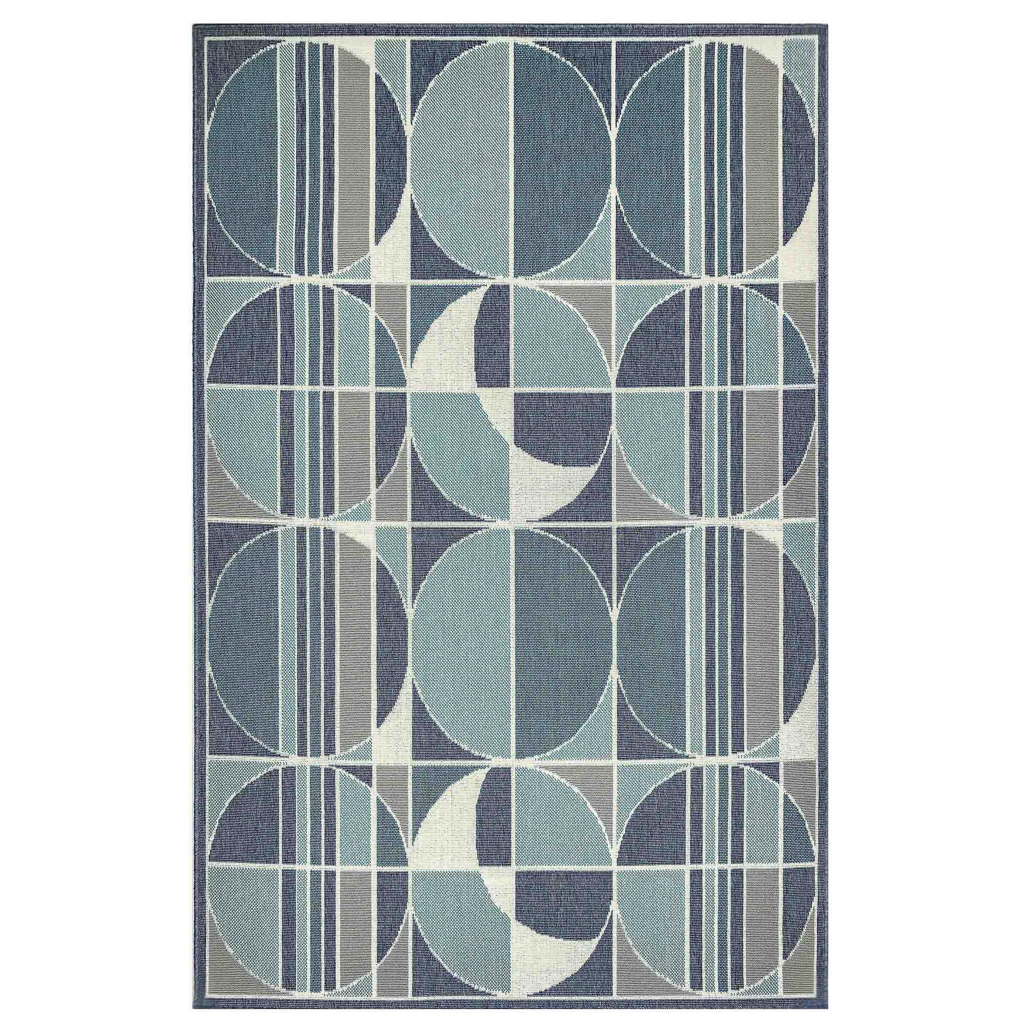 Ebern Designs Kinslow Circles Blue