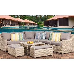 Crowe 6 Piece Rattan Sectional Seating Group with Cushions