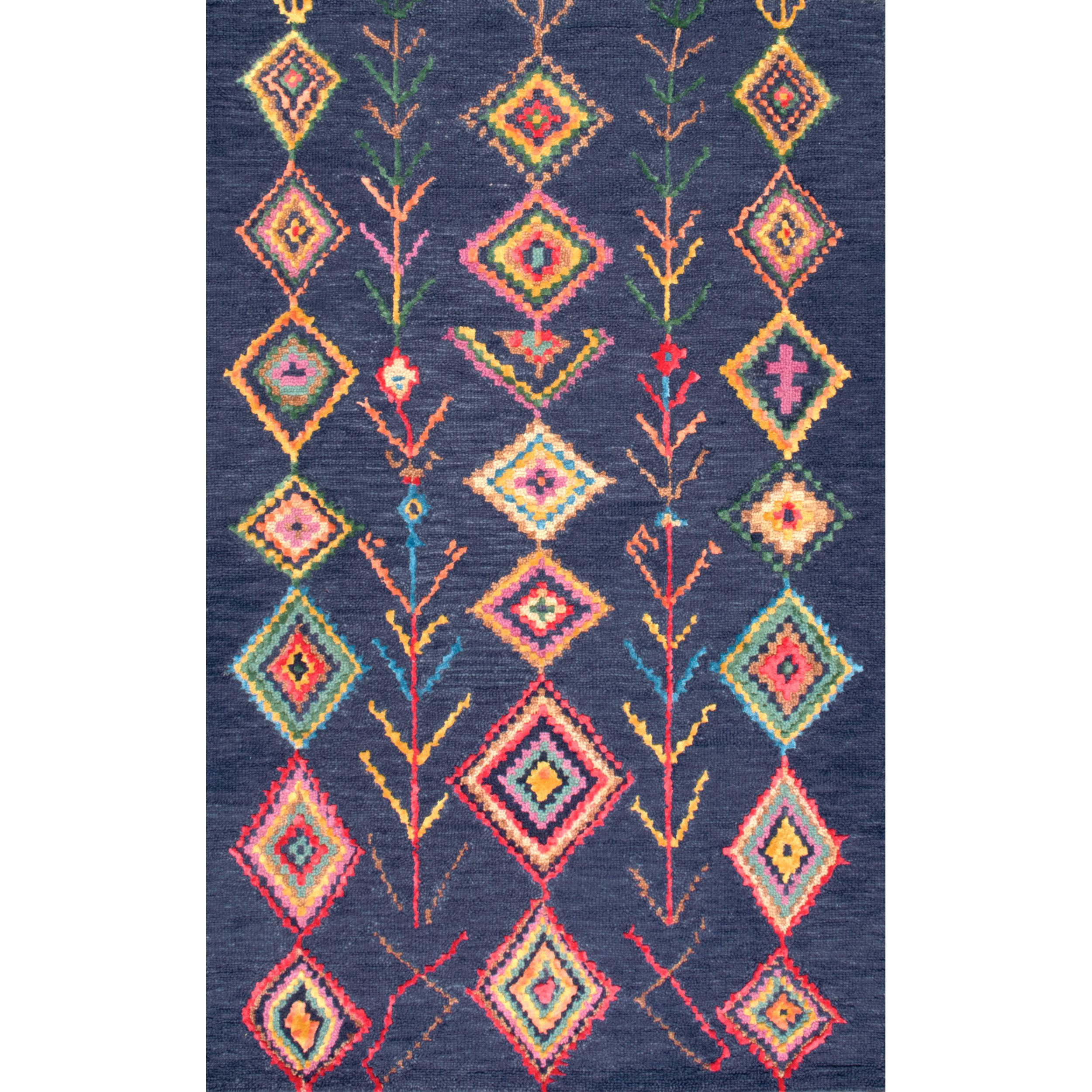 Mistana Southwestern Handmade Tufted Wool Viscose Navy Area Rug Reviews Wayfair